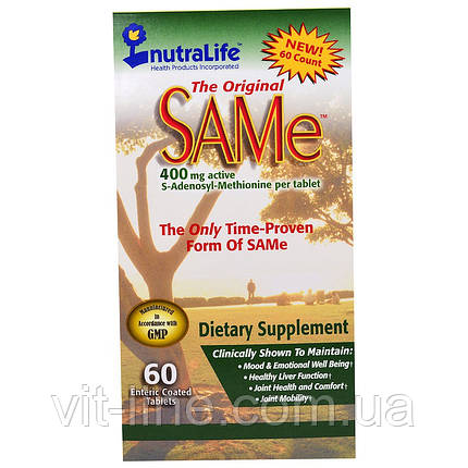 Аденозилметионин  SAM-e 400мг NutraLife 60 капсуловидных таблеток, фото 2