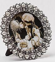 """Фоторамка """"Жемчужные сердца"""" (14х14 см, ф - 10х10 см.) литой металл"""