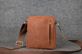 Компактная мужская сумка через плечо |10172| Коньяк