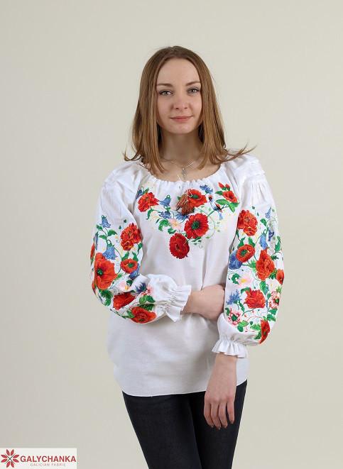 Праздничная домотканая блуза с рукавом-фонариком