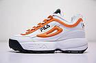 Женские кроссовки Fila Disruptor 2 White Orange (Фила Дисраптор 2) белые, фото 2