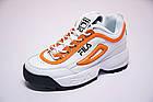 Женские кроссовки Fila Disruptor 2 White Orange (Фила Дисраптор 2) белые, фото 3