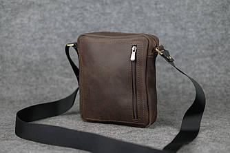 Компактная мужская сумка через плечо |10173| Шоколад