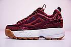 Женские кроссовки Fila Disruptor 2 Velvet Burgundy (Фила Дисраптор 2) бордовые, фото 4