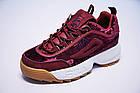 Женские кроссовки Fila Disruptor 2 Velvet Burgundy (Фила Дисраптор 2) бордовые, фото 2