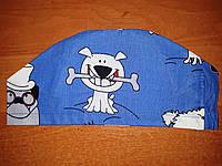 """Медична бавовняна синя шапочка  на гумці /принт """" Бульдоги"""""""