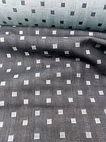 Льняная двухстороняя жаккардовая ткань в квадратик, фото 1