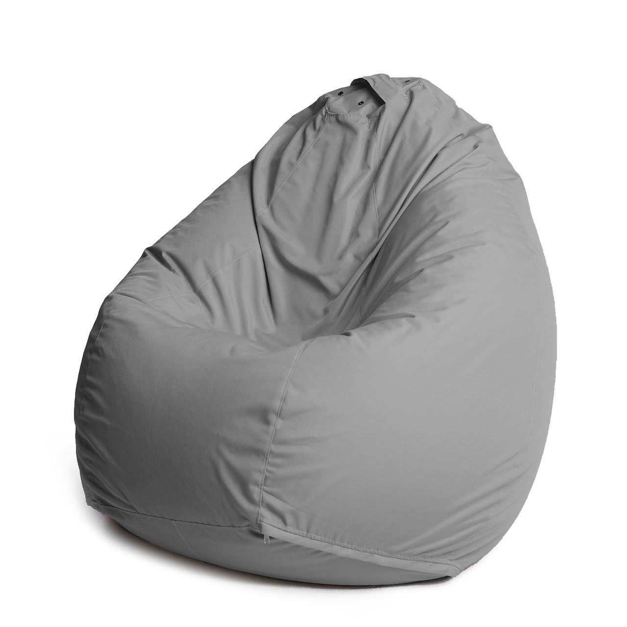 Кресло мешок груша с внутренним чехлом | Ткань Oxford XXL (Высота 130 см, ширина 90 см), Серый