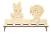Пасхальна дерев'яна підставка для 5 яєць Курчата фанера