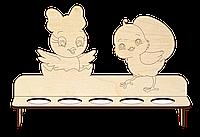 Пасхальна дерев'яна підставка для 5 яєць Курчата фанера, фото 1