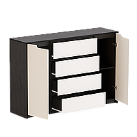 Комод для спальни Микс-3 ролики Эверест венге + белый (140х38х95 см)