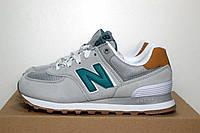 Женские кроссовки в стиле New Balance 574 серые/зеленая N, фото 1
