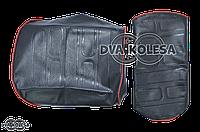 Чехол сиденья  Delta  водитель +пассажир  красный кант, теснение