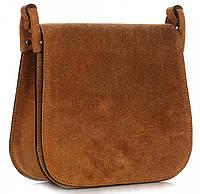 Стильная женская сумочка GENUINE LEATHER из натуральной замши, Made in Italy коричневого цвета