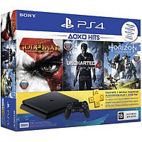 Sony PlayStation 4 500GB Slim Black (HZD+GOW3+UC4+PSPlus 3М) + игры Horizon Zero Dawn, Uncharted 4, God of War 3