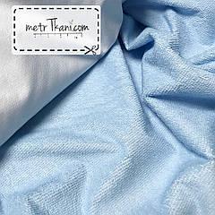 Непромокаемая ткань для наматрасника ,махровая ткань, голубого  цвета 180г/м/2  №МНП-4-10