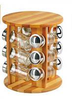 Набор для специй на бамбуковой подставке 12 ёмкостей 20х25 см