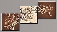 """Модульная картина на холсте из 3-х частей """"Стильное дерево"""""""