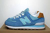 Женские кроссовки в стиле New Balance 574 (SIN) голубые/бирюзовая N