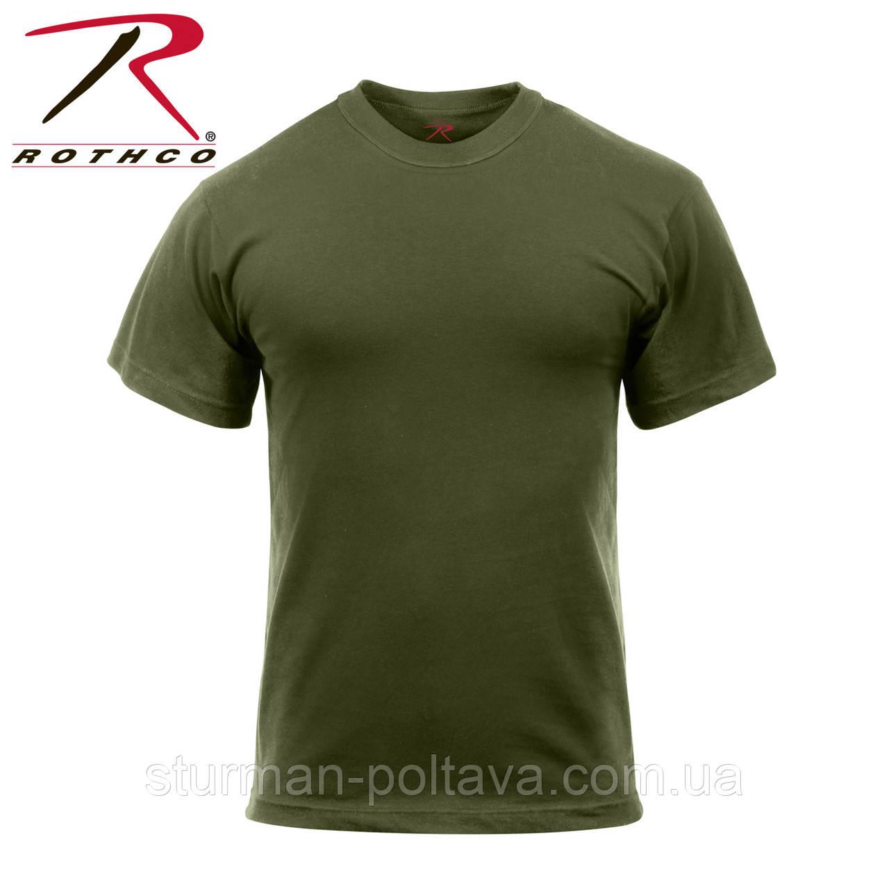 Футболка  мужская  армейская  Solid Color 100% Cotton T-Shirt  олива   Rothco USA