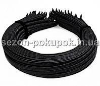 (50шт) Обруч для волос обмотанный атласной лентой  (6мм металлический).Цена за 50 шт. Цвет - черный
