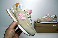 Женские кроссовки New Balance 574 (SIN)бежевые/розовая N Топ Реплика Хорошего качества, фото 1