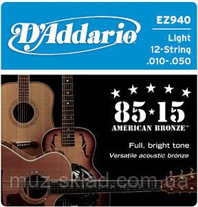 Струны для 12 струнной акустической гитары D`ADDARIO EZ940 BRONZE MEDIUM 12 STRINGS 10-50