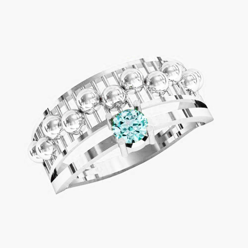 Кольцо  женское серебряное Параллели KE-1402
