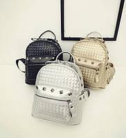 Стильный городской плетеный рюкзак с заклепками для модных девушек Смотреть товар в магазине Код: КГ3926