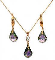 "Набор ХР ""кулон и серьги ""Цвет:позолота; Камни: ""Swarovski"" Цвет: фиолетовый хамелеон 15мм. Цепочка:40-45 см."