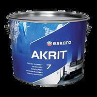 Моющаяся краска Akrit 7 Eskaro 9л TR под колеровку – для стен и потолка (шелково-матовая)