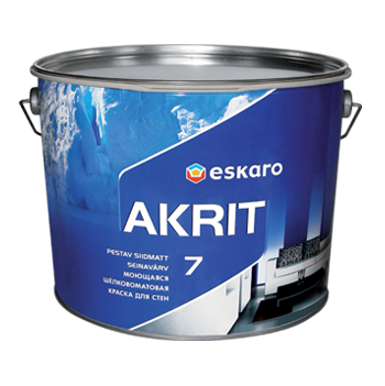 """Моющаяся краска Akrit 7 Eskaro 9л TR под колеровку – для стен и потолка (шелково-матовая)  - Color-City """"Самые Низкие Цены на Стройматериалы""""  в Одессе"""