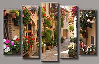 """Модульная картина на холсте из 5-ти частей """"Улица в цветах"""""""