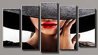 """Модульная картина на холсте из 5-ти частей """"Дама в шляпке"""""""