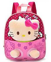 Детский рюкзак с игрушкой для девочки Кошечка малиновый, фото 1