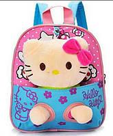 Детский рюкзак с игрушкой для девочки Кошечка голубой
