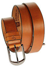 Ремень мужской кожаный Grande Pelle Labbro 334512800 коньяк 3,5см