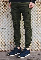 Мужские оливковие (хаки) брюки карго Staff cargo Haki modern