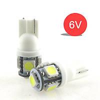 Led лампы W5W для мотоцыклов  белый  цвет , Т10 5Leds 5050SMD, 6V .