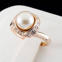 Чудесное кольцо с кристаллами и жемчугом Swarovski, покрытое золотом 0761
