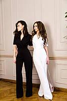Комбинезон с брюками-трубами  Расцветки:чёрный , белый  фото реал аива №334
