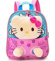 Детский рюкзак с игрушкой для девочки Кошечка розовый
