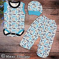 Боди, шапочка и штанишки для новорожденного Размеры: 62 и 68 см (6241-2)