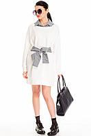 Белое платье с поясом normcore
