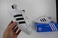 Adidas SuperStar белые с черными полосками Топ Реплика Хорошего качества, фото 1