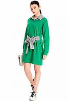 Зеленое платье с поясом normcore