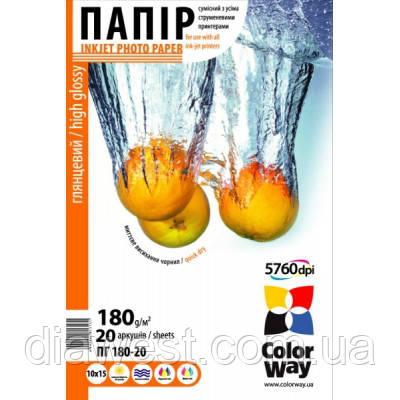 Бумага для принтера/копира ColorWay PG180-20 10x15 (PG1800204R)