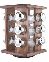 Спецовники на деревянной подставке, органайзер для специй 12 ёмкостей, 18х18х24 см