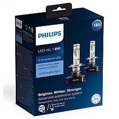 Лампы светодиодные PHILIPS H4 X-tremeUltinon +200% 12901HPX2