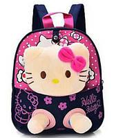 Детский рюкзак с игрушкой для девочки Кошечка синий, фото 1